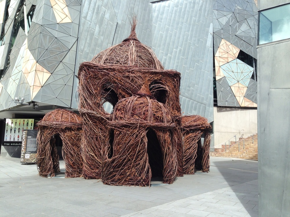 Temple of twigs in Federation Square
