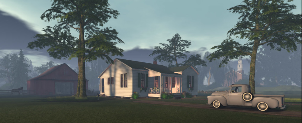 Boyhood home of Johnny Cash - model for Arkansas State University in Second Life