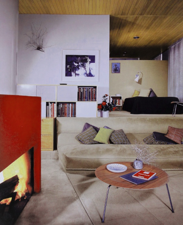 Wrap around sofa and fireplace in Case Study House #9 also known as the Entenza House (c.1950)