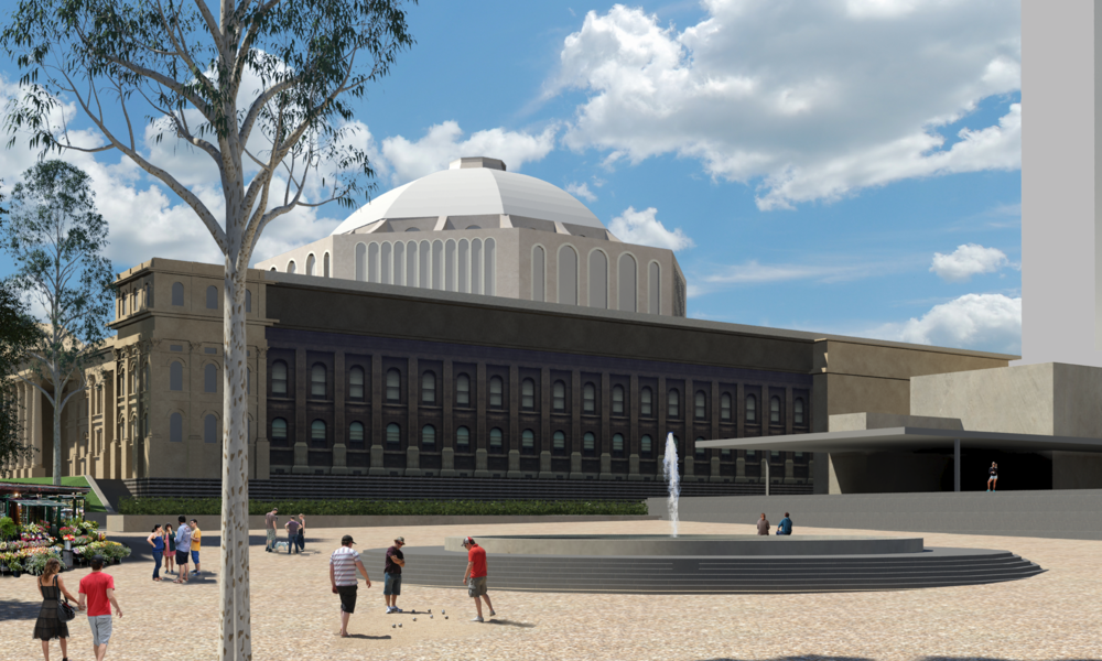 Proposed terraces to South of Library reveal the southern facade of the Library and give the dome the space to be.