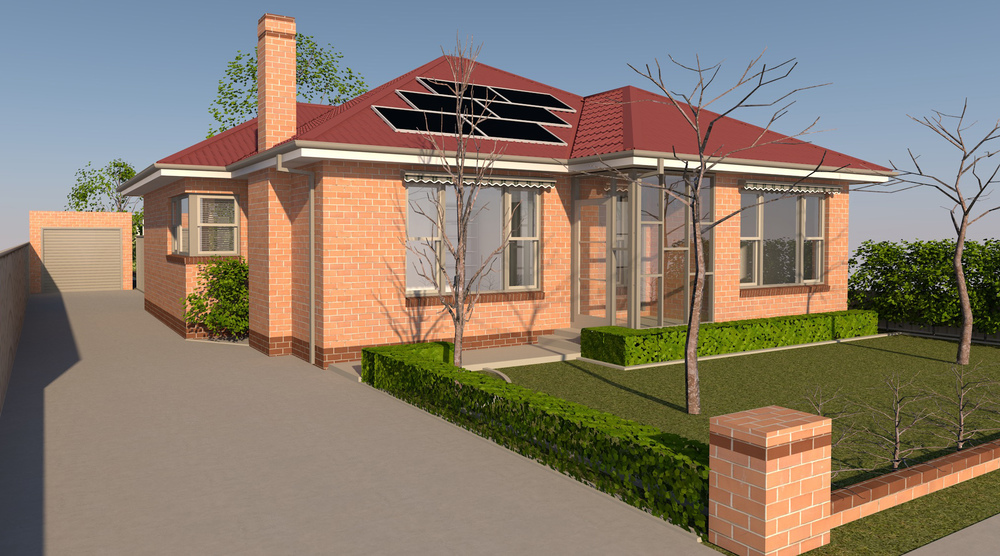 Archicad rendering of front indicating landscape proposal