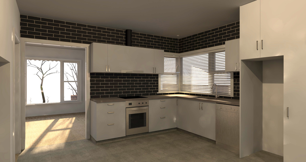 Proposed Kitchen with black facing brick tile splashback and wall treatment (Archicad render)