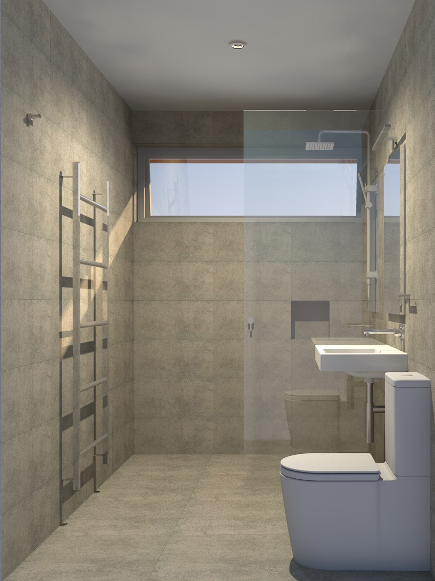 Archicad rendering of new bathroom with hydronic heating, shower enclosure and porcelain floor and wall tiles
