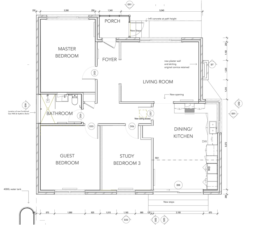 Proposed floor plan indicating opening up of kitchen to the garden at rear