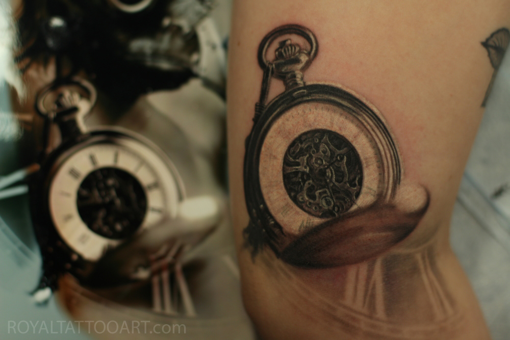 pocket  watch realism tattoo nyc new york manhattan  black and grey