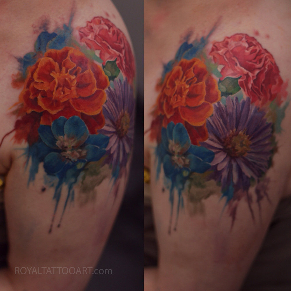 Flower tattoo realism