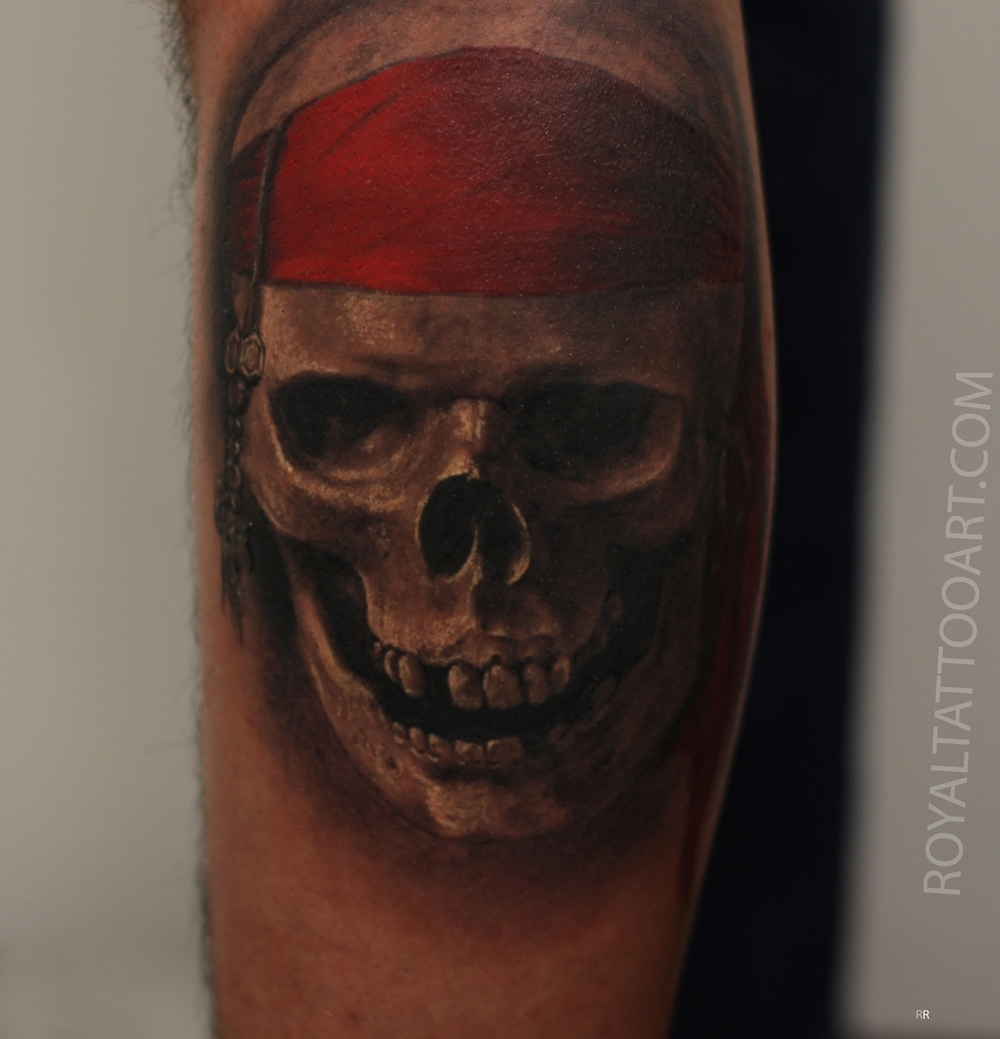 skull tattoo pirate realistic