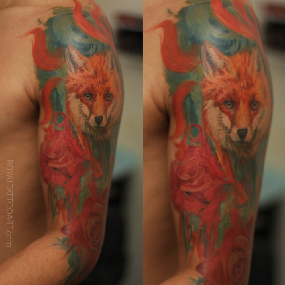 9 tail fox portrait rose nyc tattoo water color