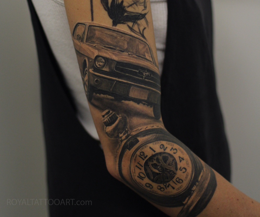 Mustang car Black and gray tattoo watch pocket watch realism photorealism Royal Jafarov nyc new york manhattan