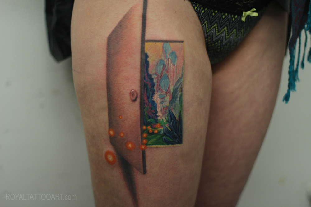 Realistic fantasy door tattoo by Royal Jafarov nyc new york.jpg