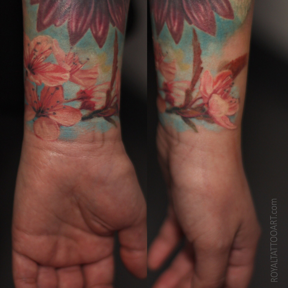 nyc new york ny color realistic cherry blossom flower tattoo ink pink wrist female girl artist costum tattooer