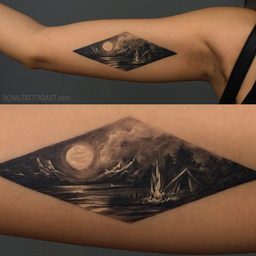 Moon lake tend capm camping moon mountain tattoo triangle geometric geometri nyc new york