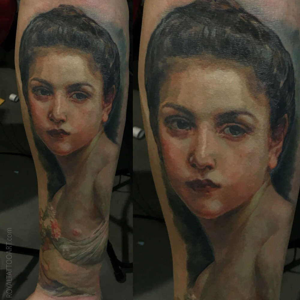 paintin portait tattoo adolpe william bouguereau