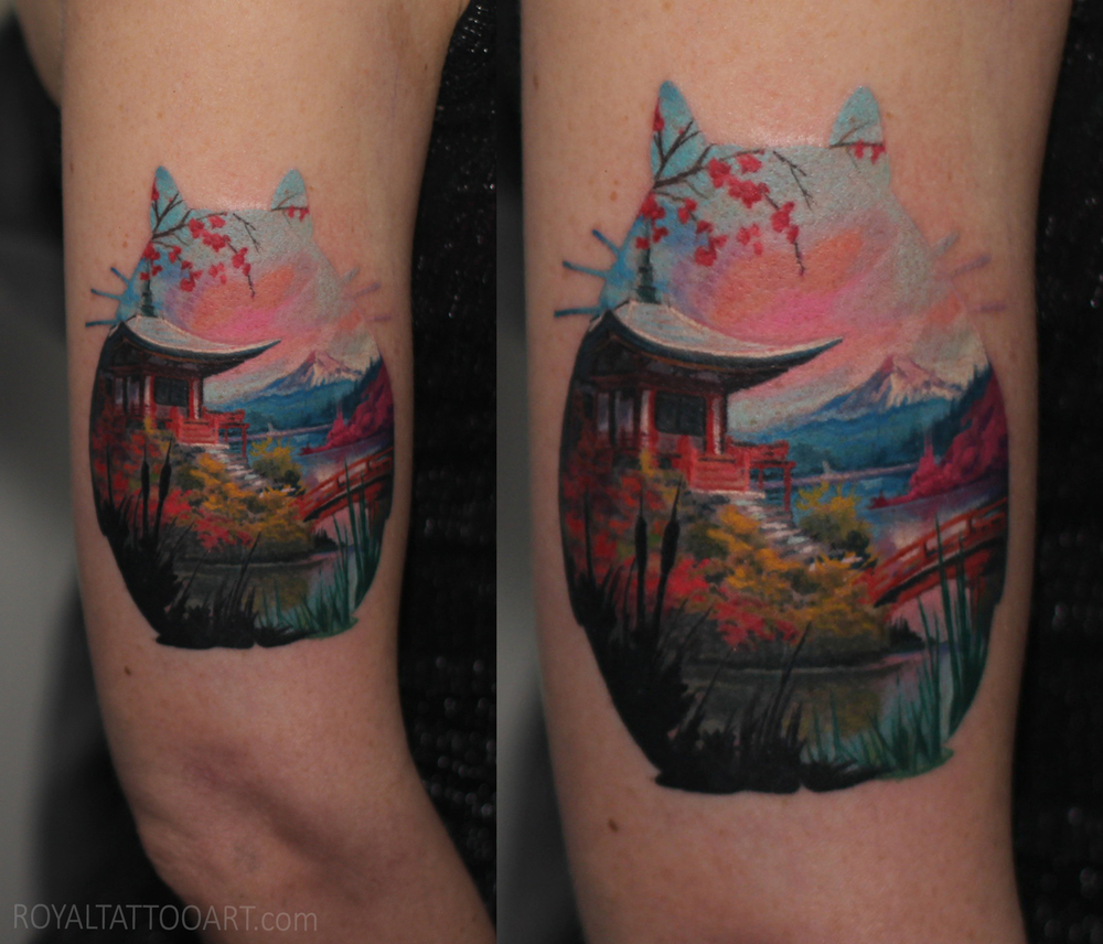 double exposure landscape  color totoro tattoo japanese garden mountain realistic realism nyc east village art artist.jpg