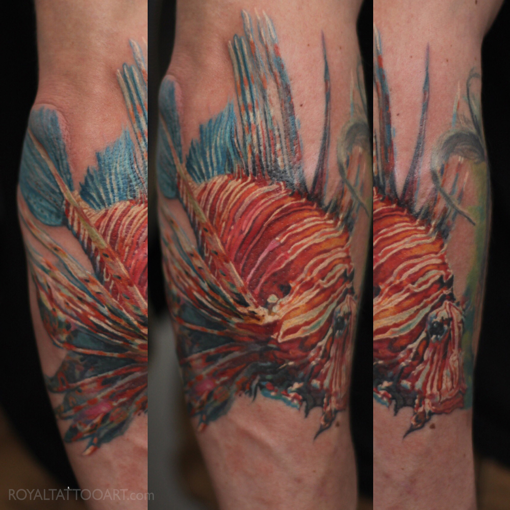 lion fish tattoo nyc color realistic underwater tattoo
