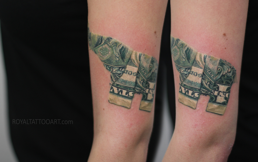Elephant tattoo dollar bill realism realsitic hiper single needle nyc new york manhattan