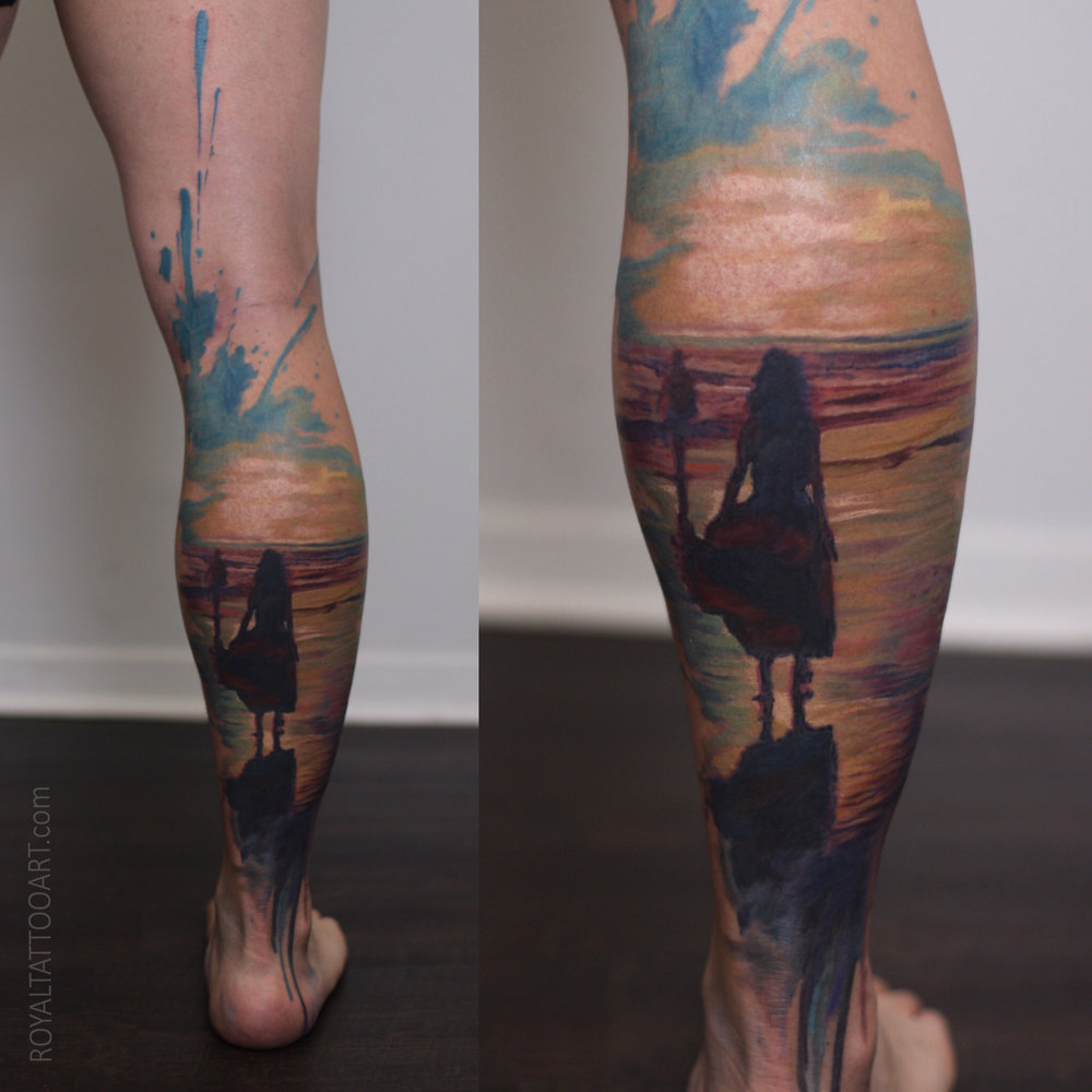 watercolor abstract tattoo realism ocean beach sunset nyc new york tattooer artist best
