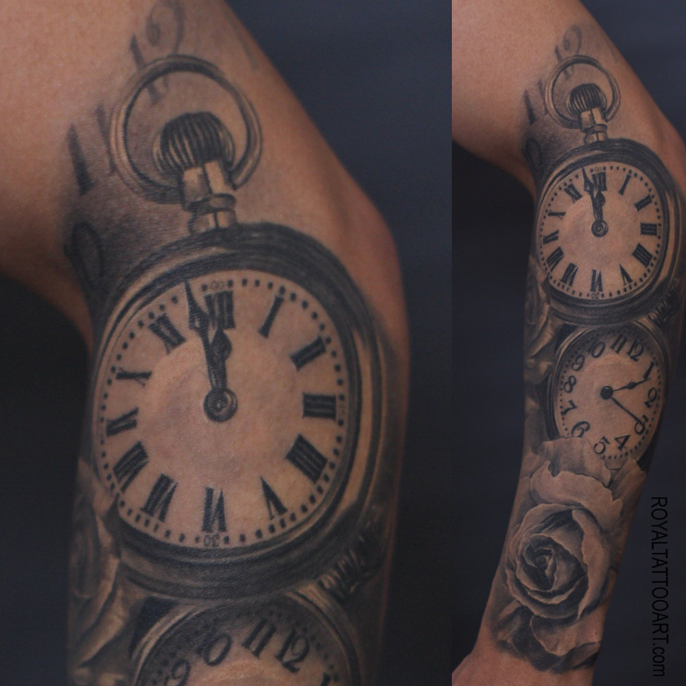 clock rose time realistic realism black and white gray tattoo nyc artist royal jafarov.jpg