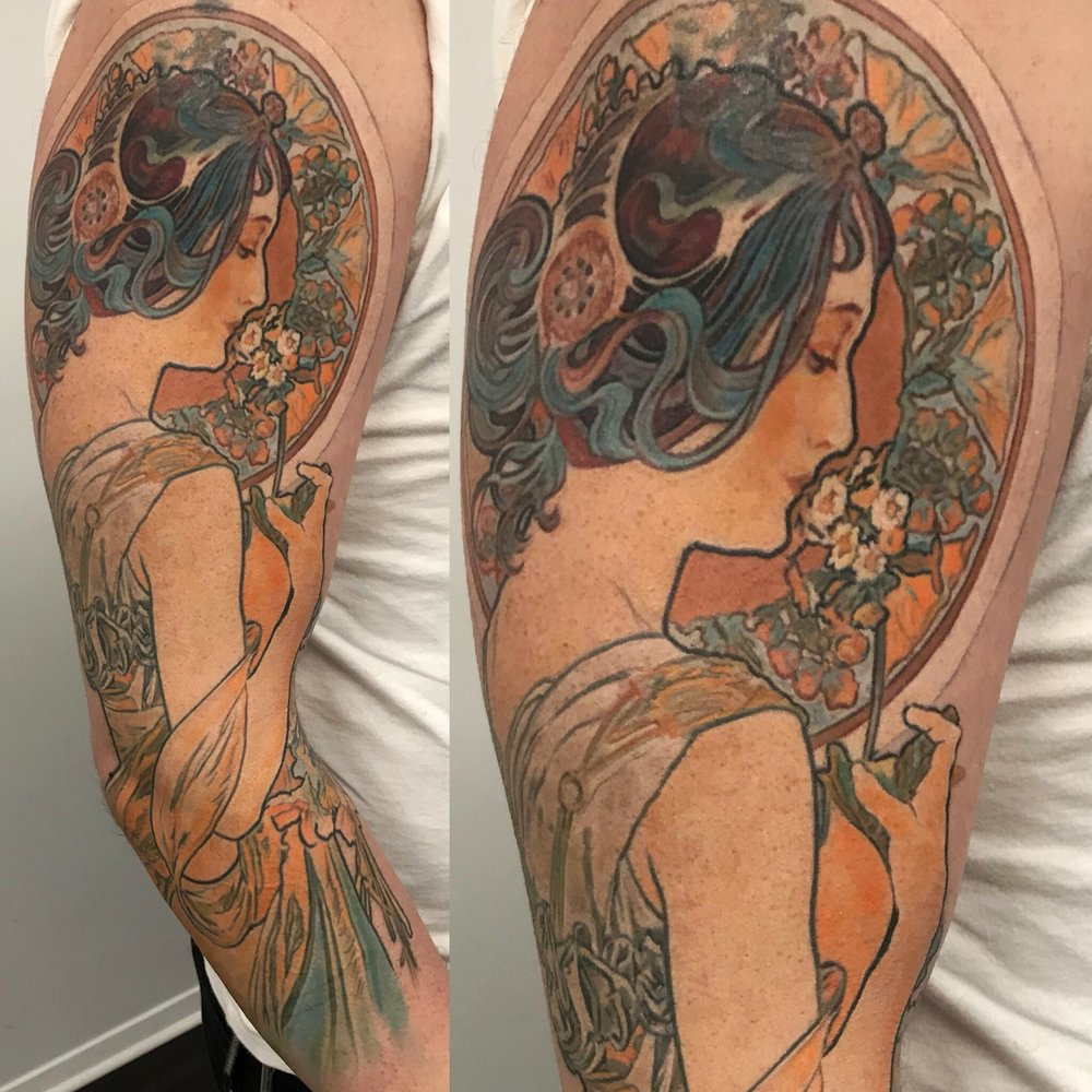 Alponse Mucha painting tattoo color sleeve