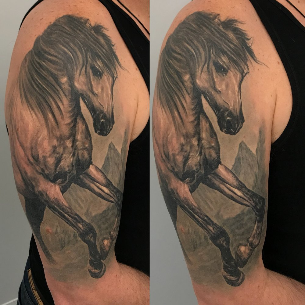 horse tattoo realistic animal portrait