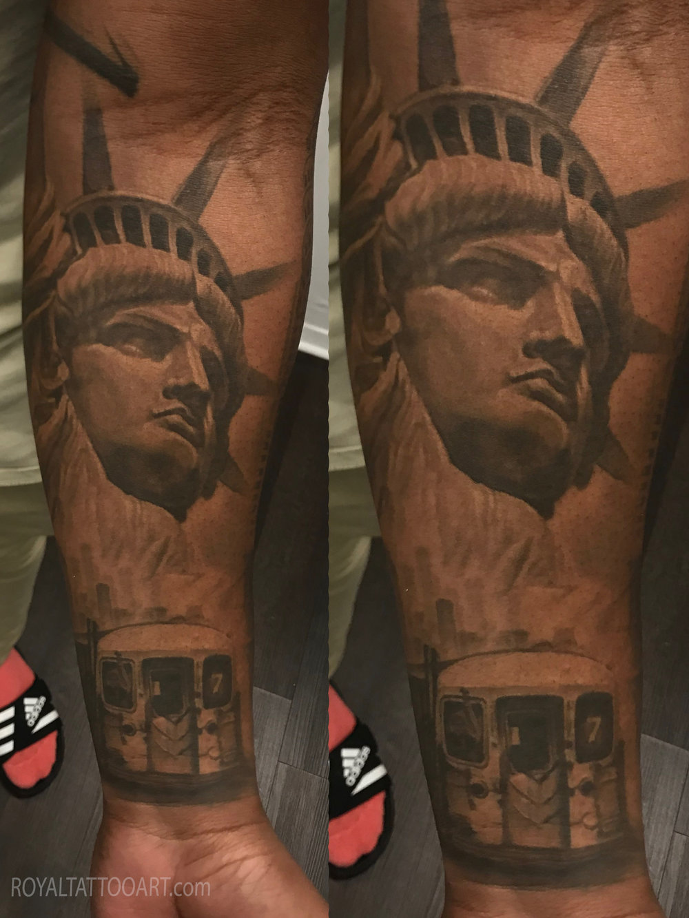 nyc statue liberty sleeve train tattoo black and gray copy.jpg