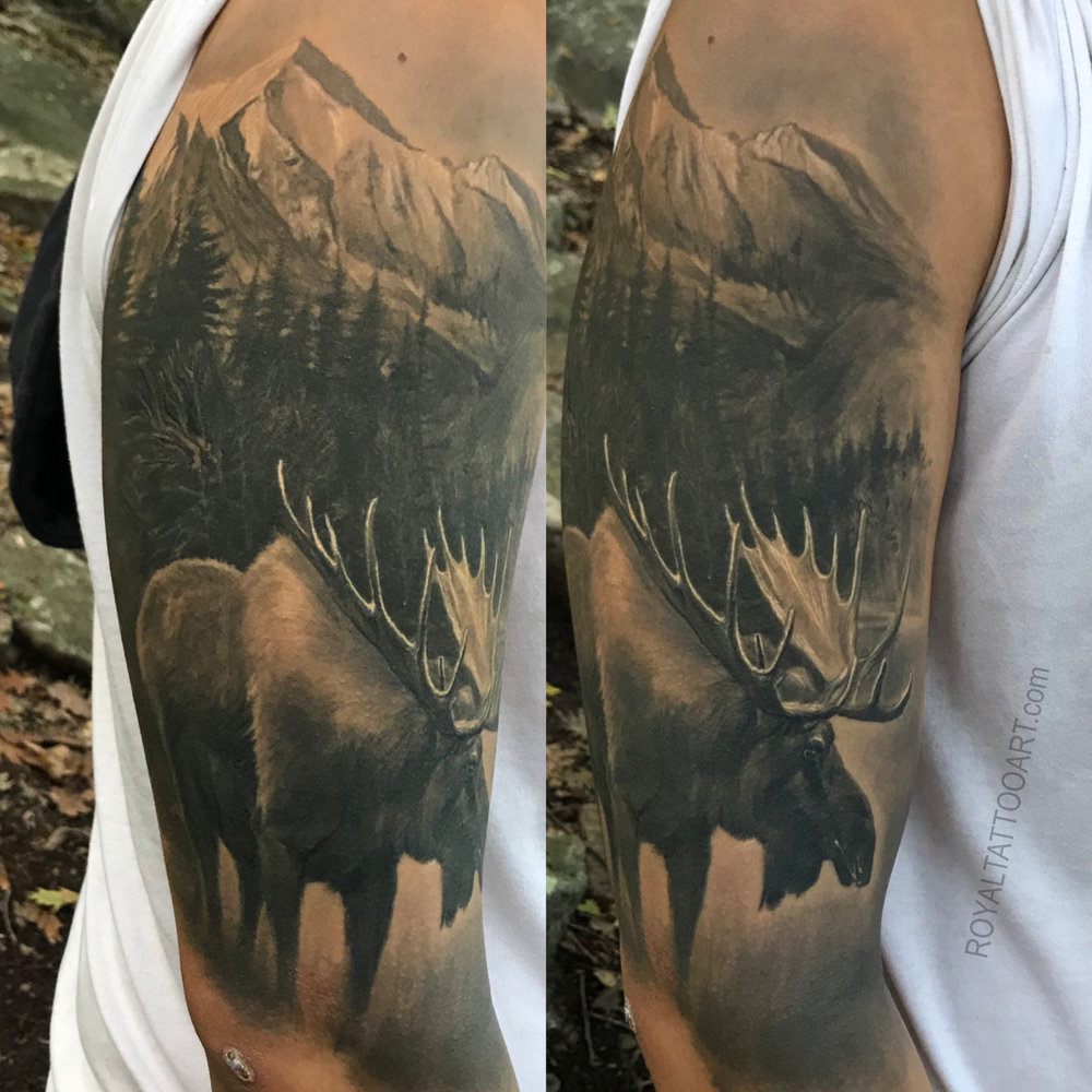 moose tattoo with forest background