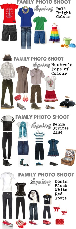 What a great assortment of clothing options that could work all year long!      http://fashionistapin.com/2013/03/12/ideas-for-a-spring-family-photo-session-color-combos/
