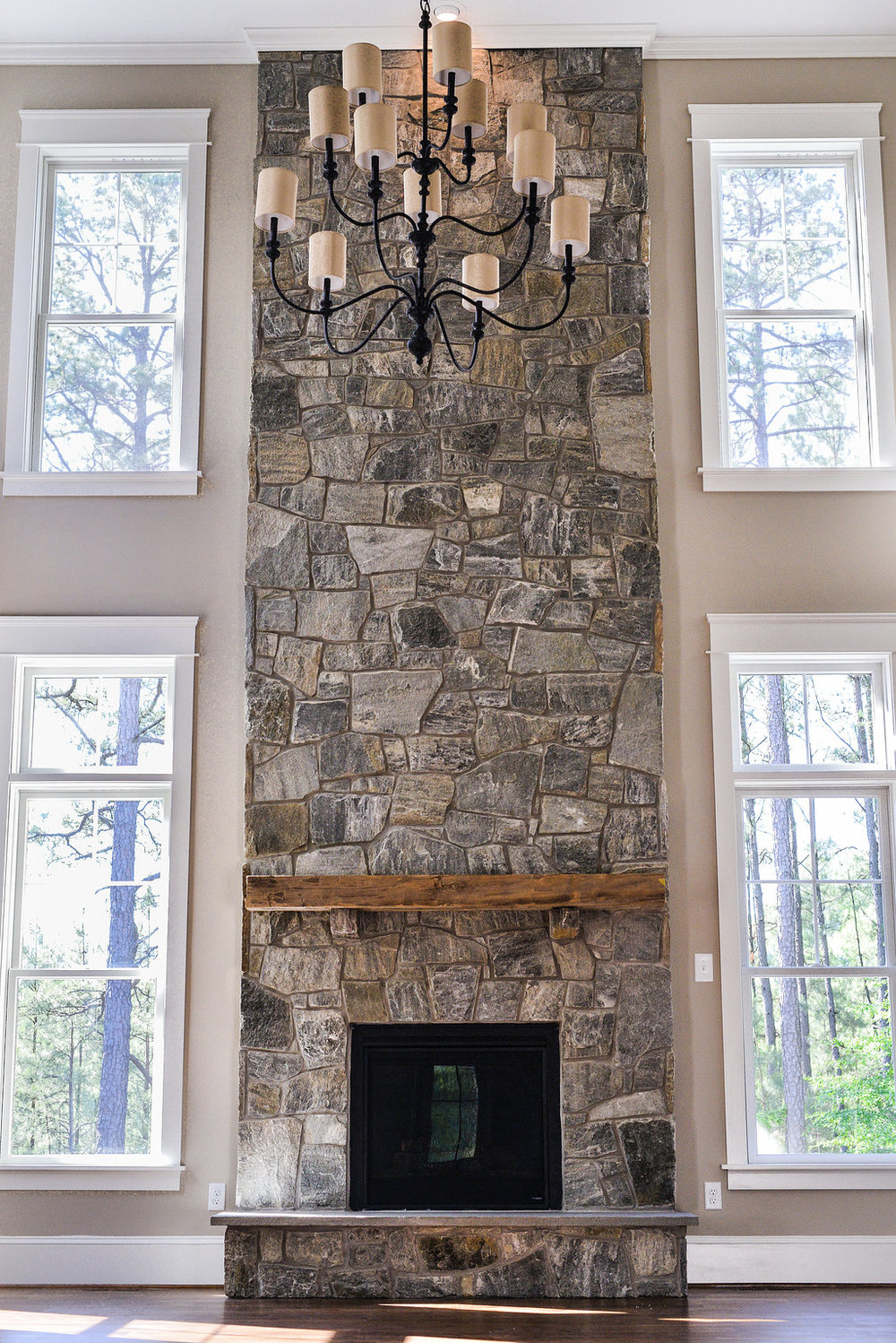 Two story stone fireplace