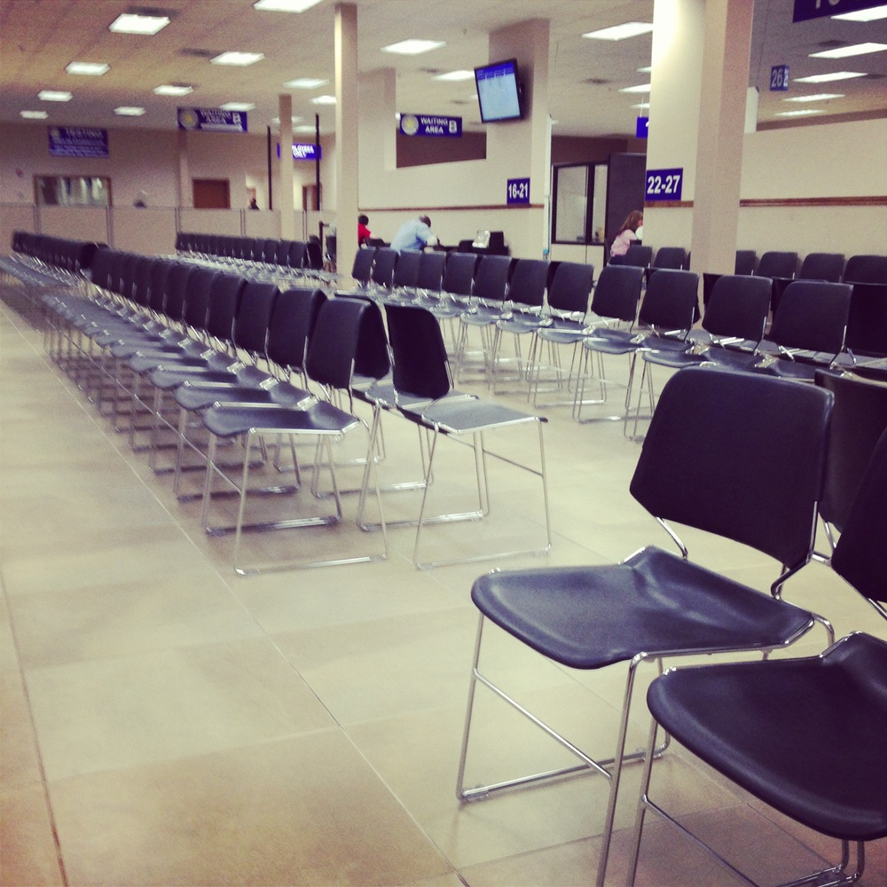 An unlikely site: a near-empty DMV.