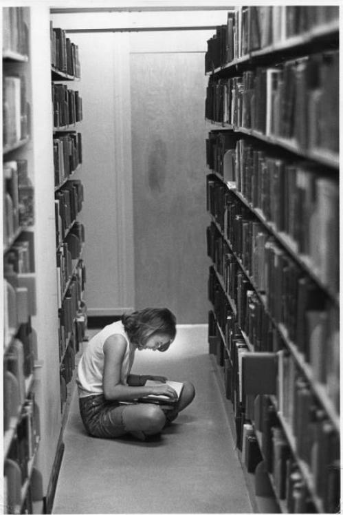 In the library stacks. Wellesley College, MA (1969) Bradford F Herzog.