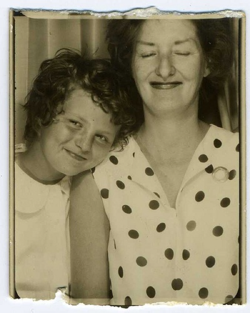 Mother daughter vintage photobooth photo  via