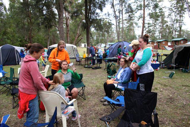 Teen girls + camp = braid fest