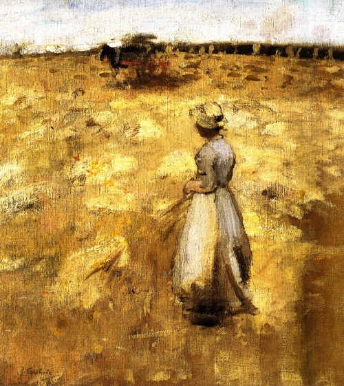 Fieldwork in the Lothians  (1883) by Scottish painter James Guthrie (1859-1930)