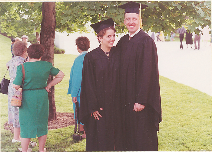 BYU 1992. After two years of  marriage, we both graduated college.
