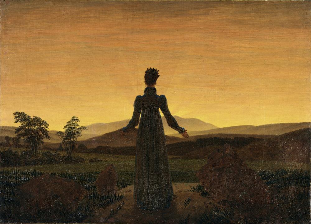 Frau vor der untergehenden sonne by caspar David Friedrich, 1818