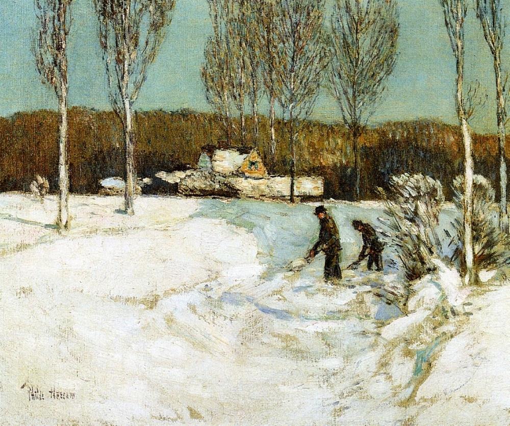 Shoveling Snow, New England  -- Frederick Childe Hassam, 1905.