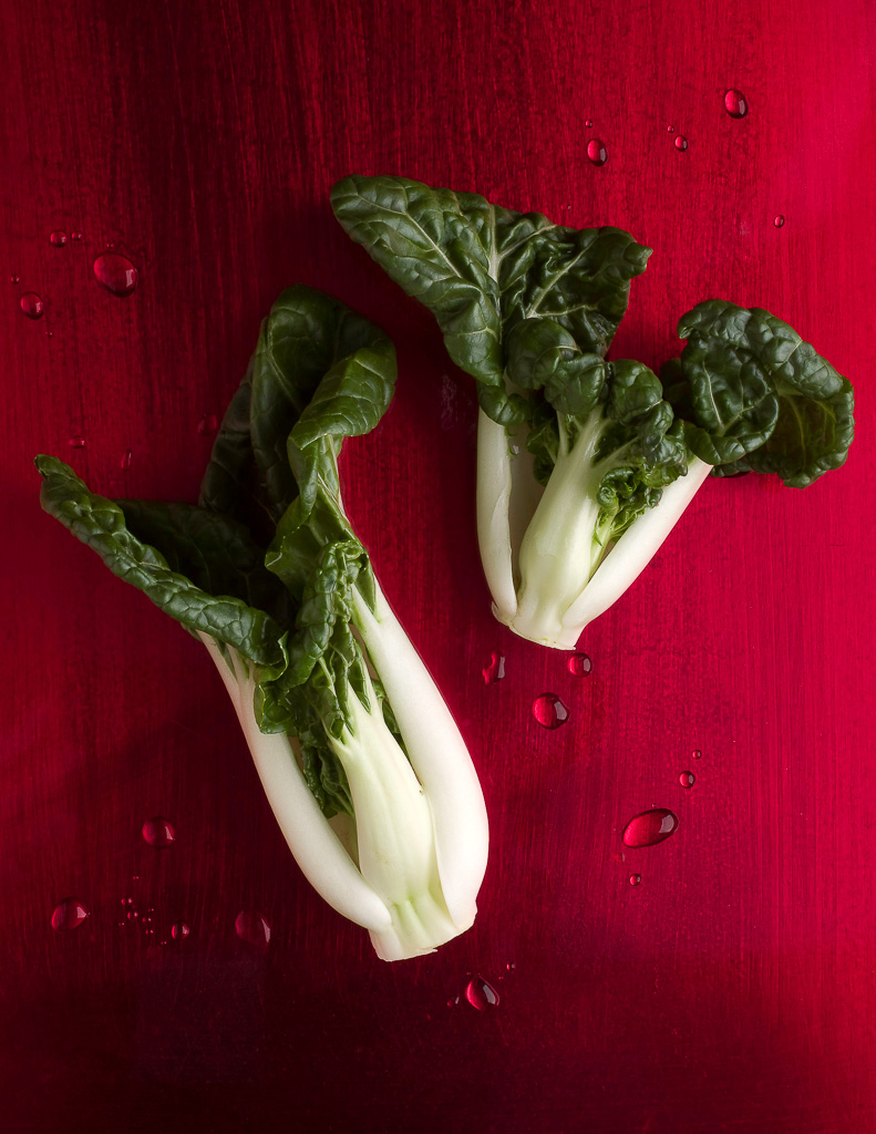 Bok Choy on Red Lacquer