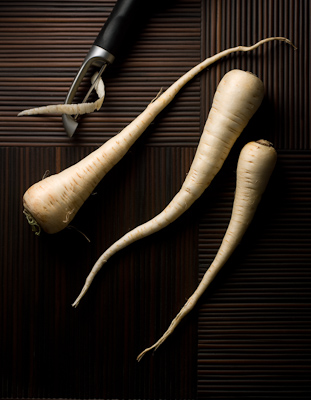 """Three Parsnips"" Color photograph, Pigment print on fiber paper Asian Still Life Series"