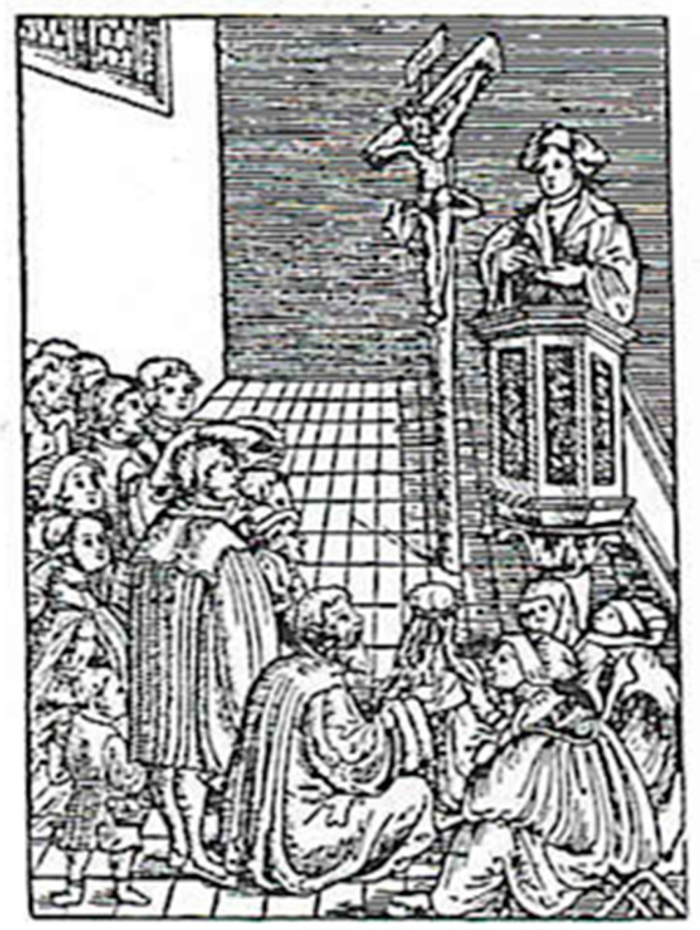 From Luther's  Small Catechism , a Cranach woodcut for the first petition of the Lord's Prayer.