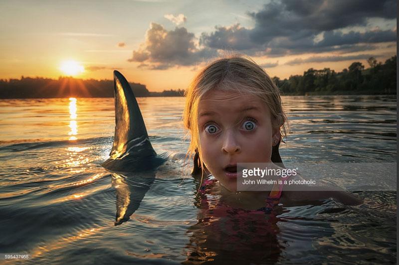 Sehr intensiv. Der Sonnenuntergang, die Haifinne, der überraschte Gesichtsausdruck. Wow.