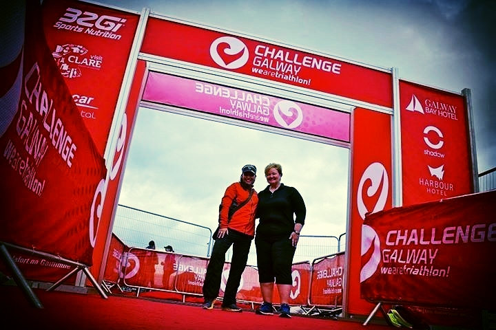Krista and Kelli awaiting RaceQuest finishers at Challenge Galway.