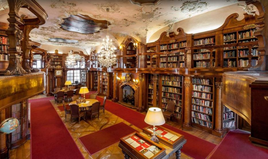 In Salzburg, our hotel features a majestic library.