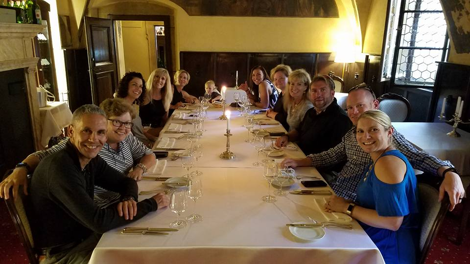Our Europe's Treasures Post-Challenge Roth tour clients enjoying dinner at   U Maliru  , founded in 1543.