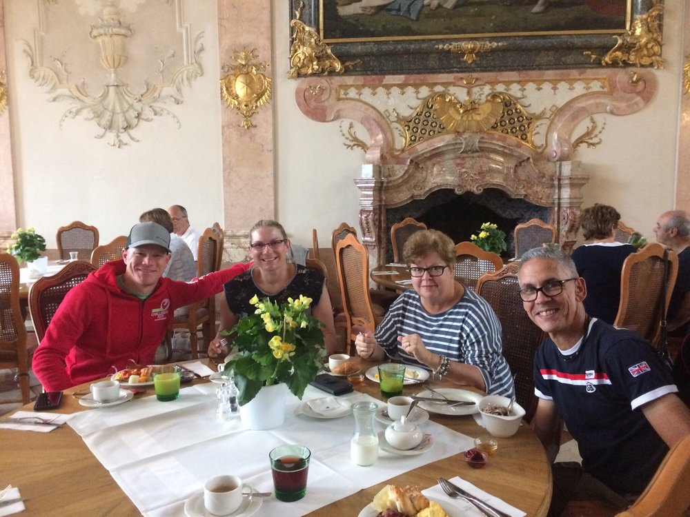 RaceQuest Travelers enjoying breakfast in Salzburg.