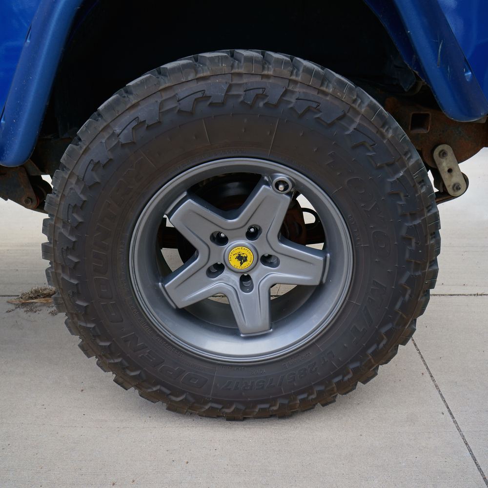 AEV Pintler and Toyo tires on tow Jeep