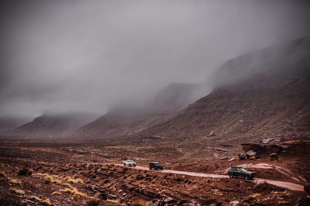 Braving the storms on the way to Hurrah Pass near Moab PHOTO BY MATT RITSCHER