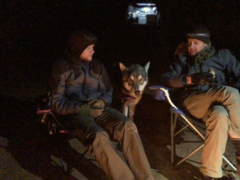 Fenrir prowling for treats around the campfire…