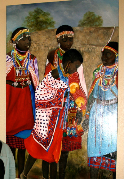 """MASAI WOMEN""   6' x 9'  PAINTED FROM A PHOTO TAKEN IN AFRICA - SOLD"