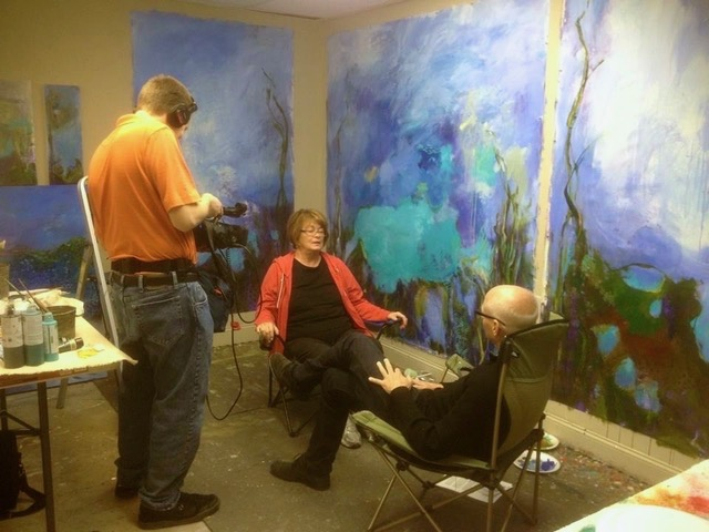 Martha being interviewed for article in Growing Boulder Magazine with Marc Middleton