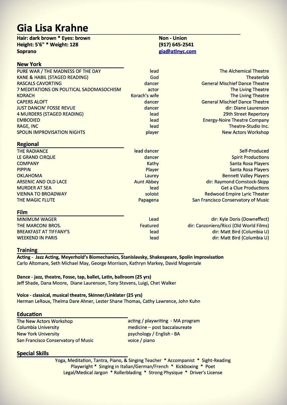 Theatre Resume — Gia Lisa Krahne